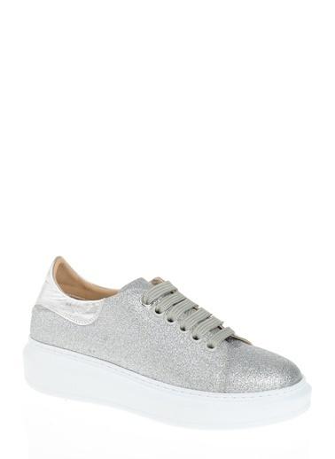 D by Divarese % 100 Deri Ayakkabı Gümüş